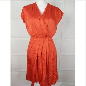 Antonio Melani orange Ruffle A line Silk dress 2